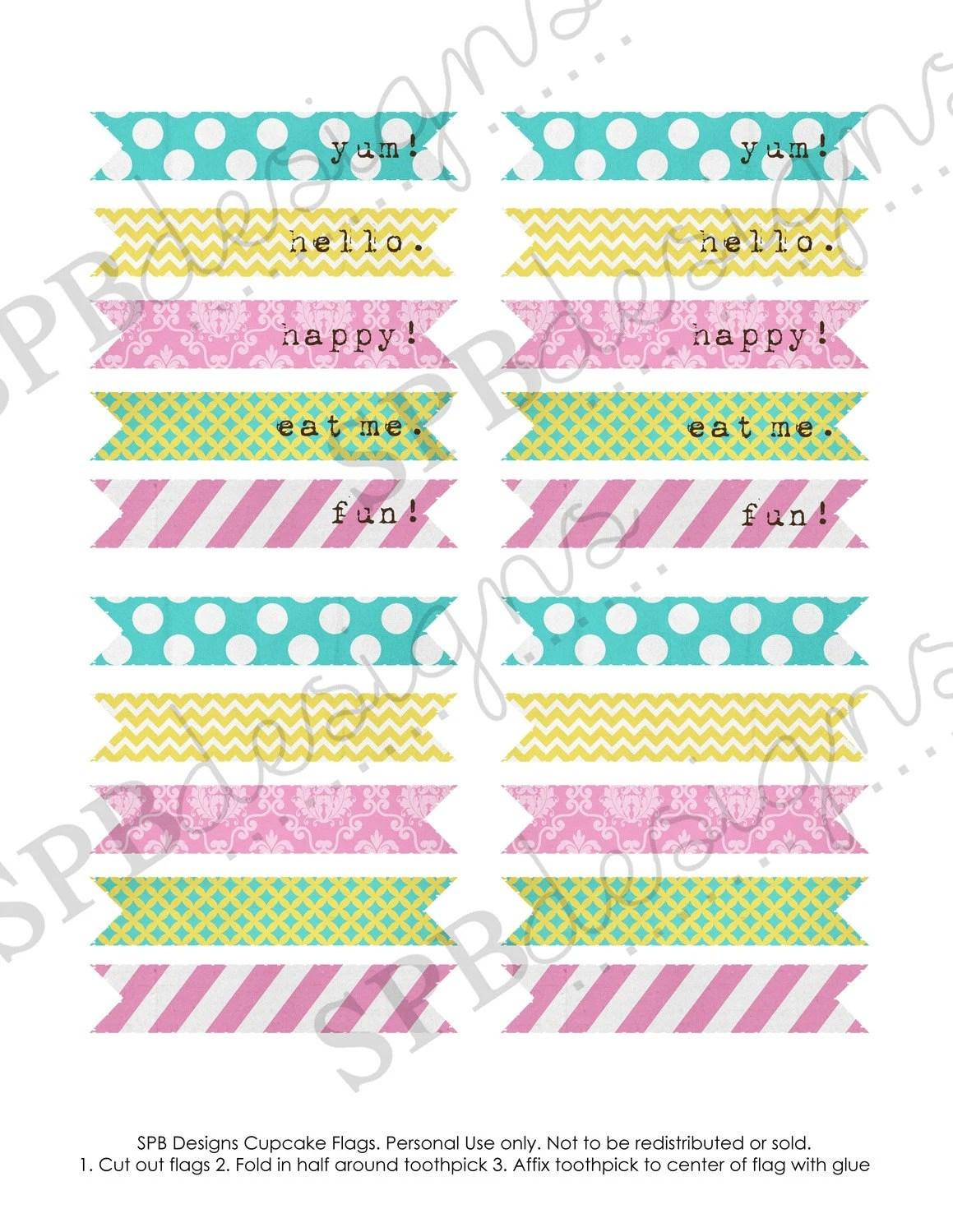 Cupcake Flags Printable Spring Fling By Sweetpeababy On Etsy