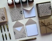 Mini Stationery Set Natural Stamped Envelopes with White Cards - Ciaffi