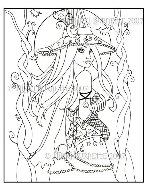 cassia coloring page kit  aceo print fantasy witch