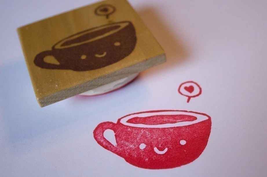 Smiling Tea Cup Hand Carved Stamp