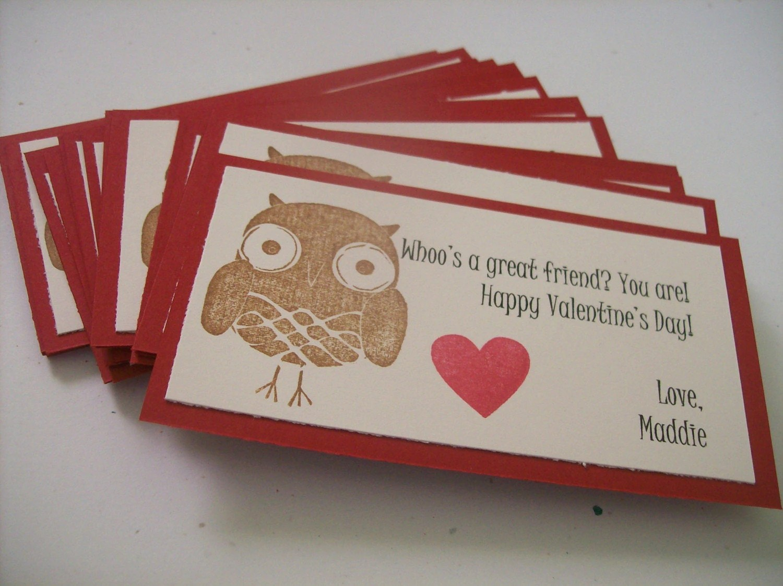 Set Of 20 Custom Valentine Owl Classroom Cardspersonalized