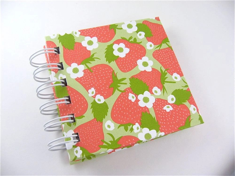 Small Notebook / Blank Journal / Green and Pink Strawberry Fields - PipingHotPapers
