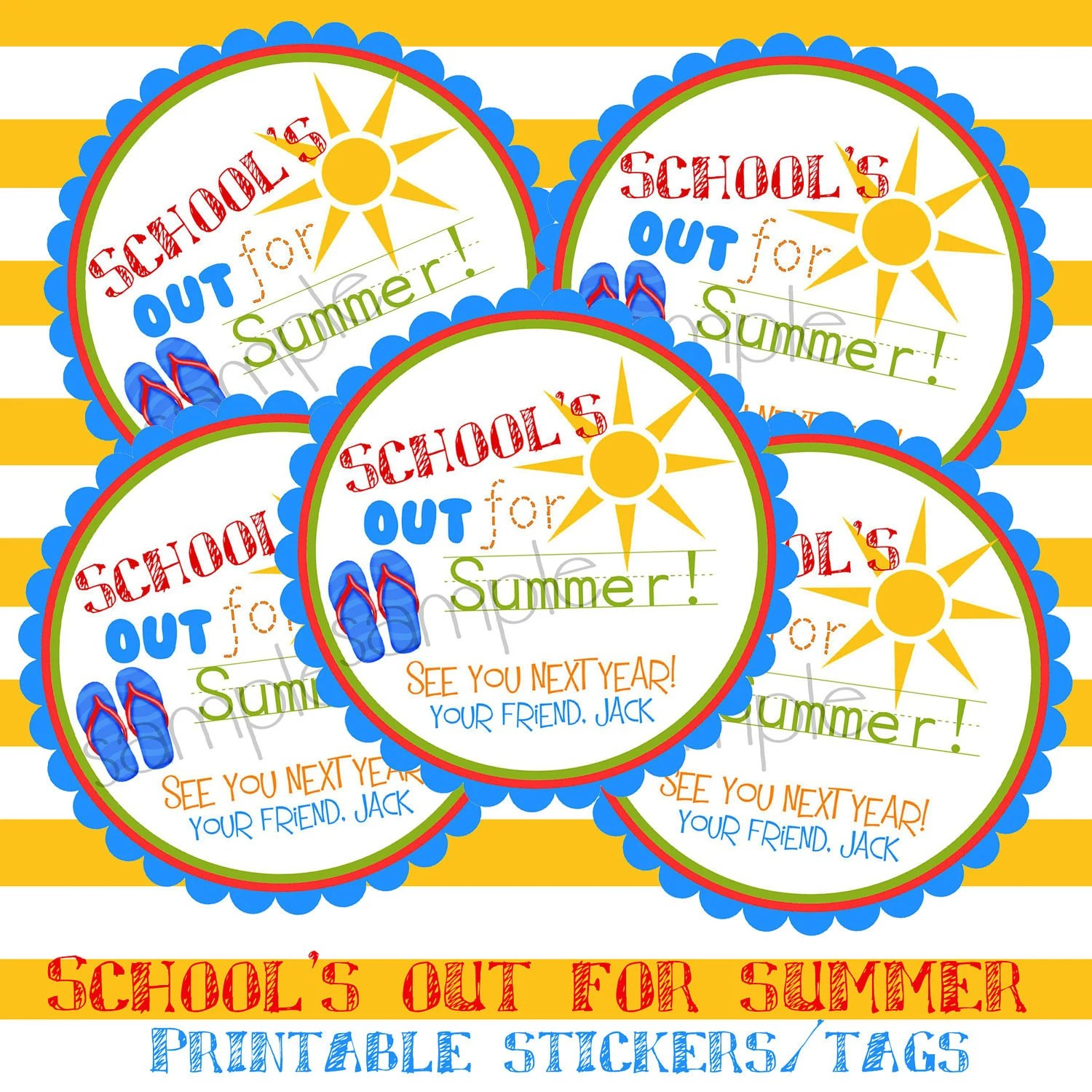 Printable, DIY, Schools Out, Sun, Flip flops, Summer, Labels,  stickers, Hang Tags, Teacher, children, kids, school - LittlebeaneBoutique
