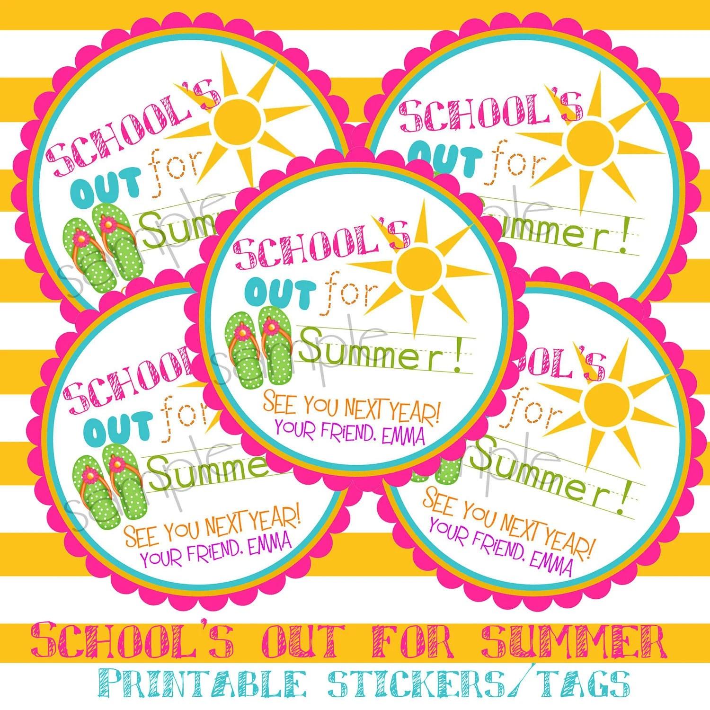 Printable Diy Schools Out Sun Flip Flops Girls Summer