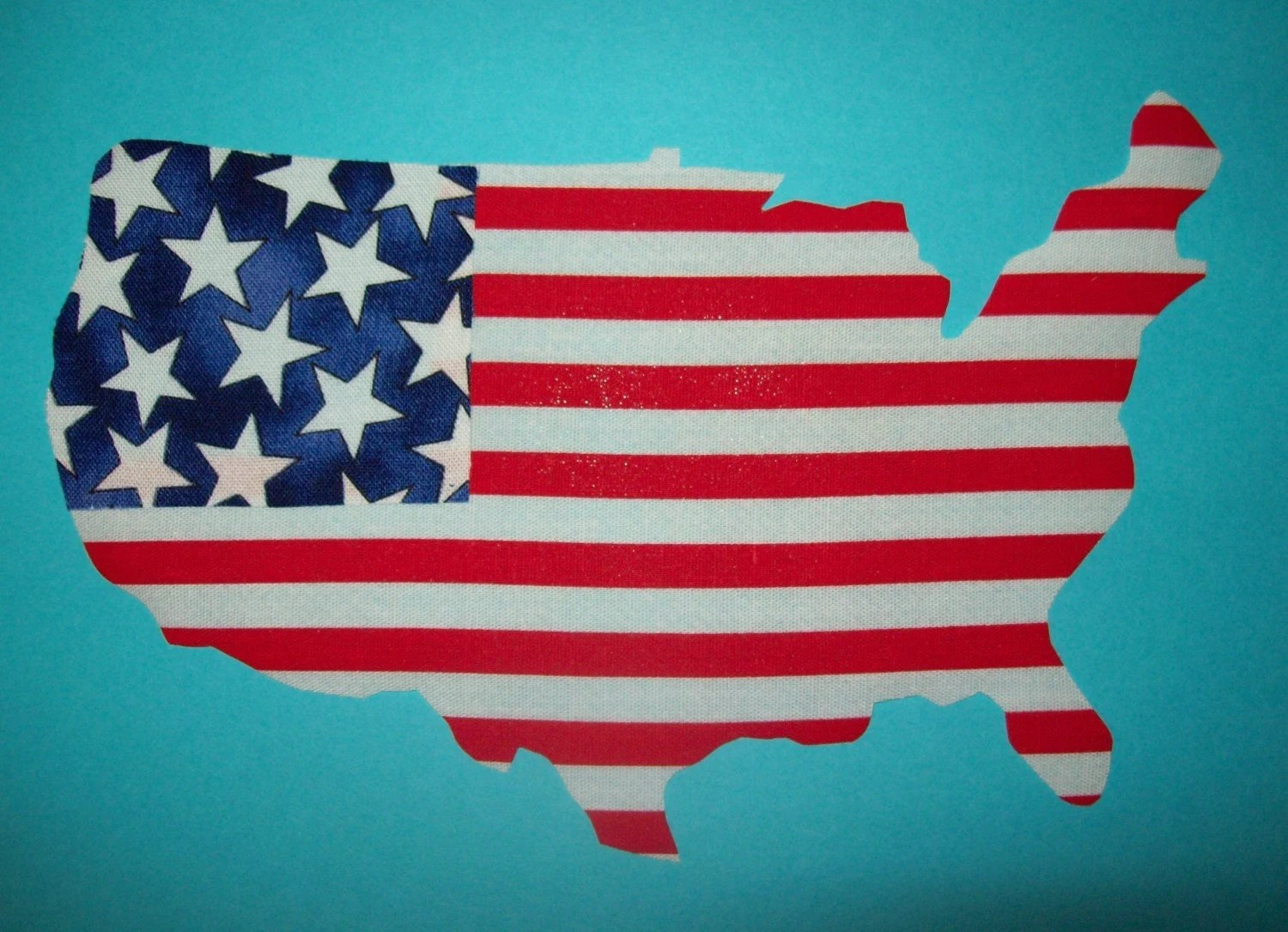 Fabric Applique Template Only Usa Outline Flag Colors By