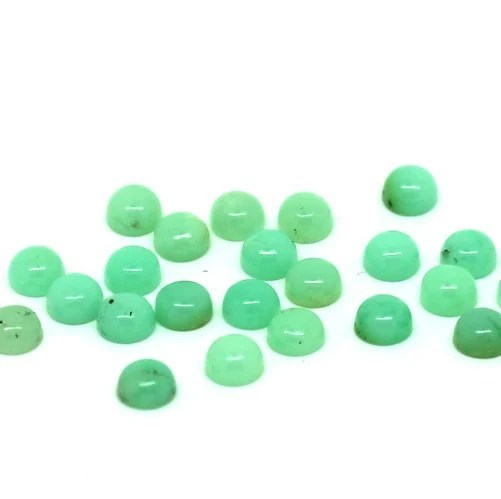 4mm Chrysoprase Cabochon - 5 pieces