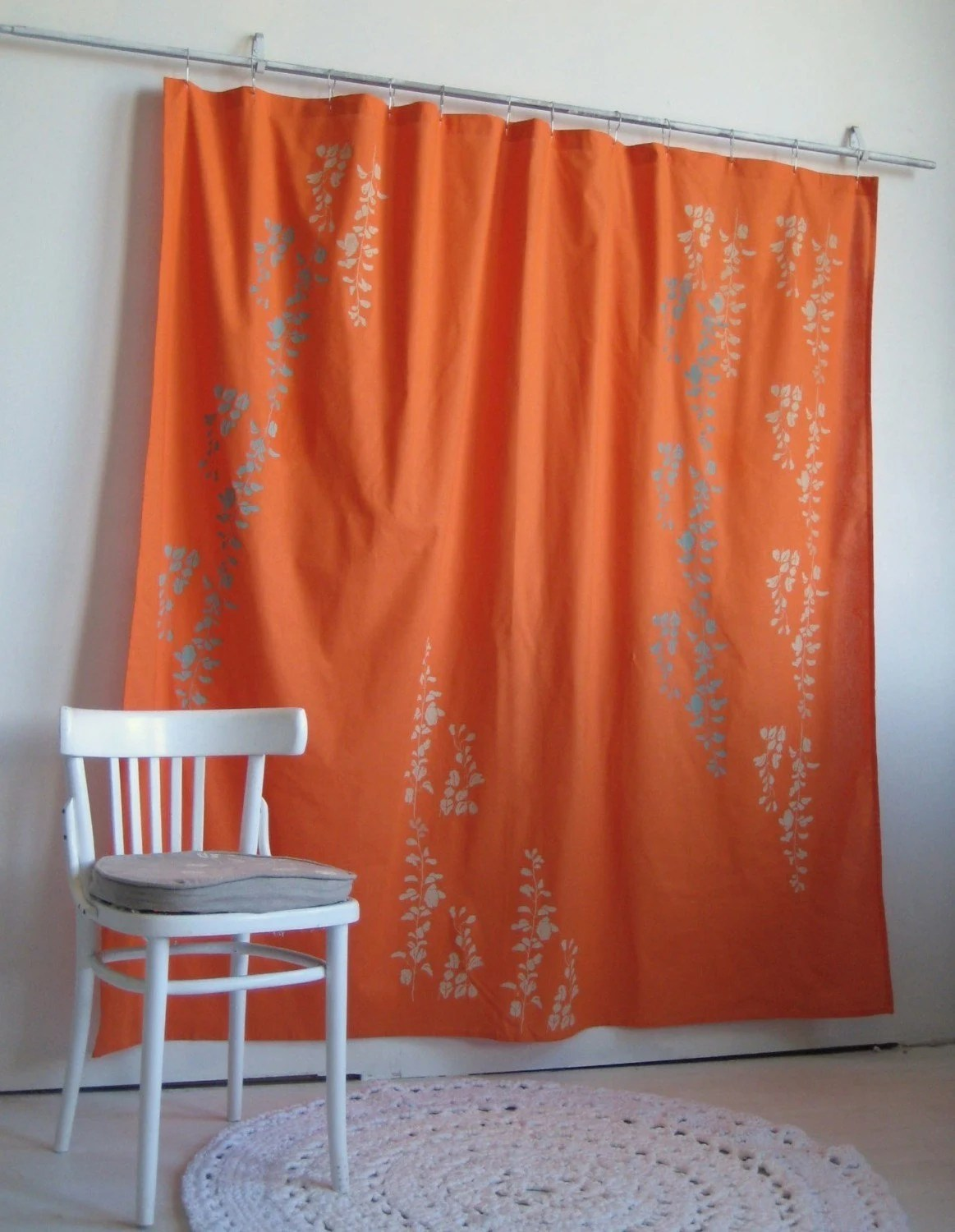 Bright Orange Shower Curtain With Wisteria Print By Appetitehome
