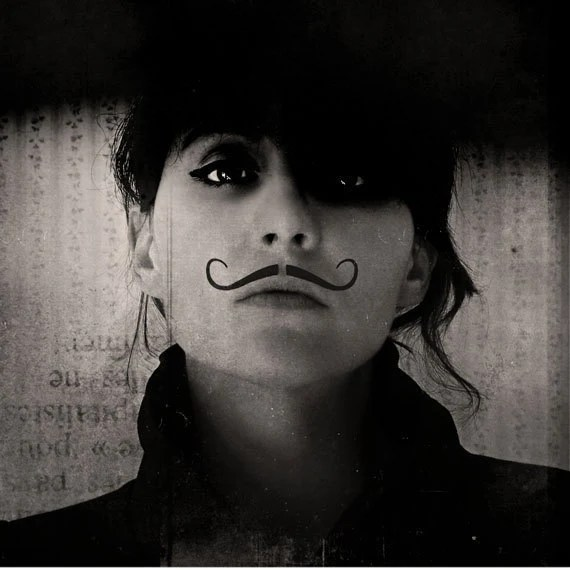 Mustache Portrait, Ringleader, Black and White 8x8  Androgymous Print, - ellemoss