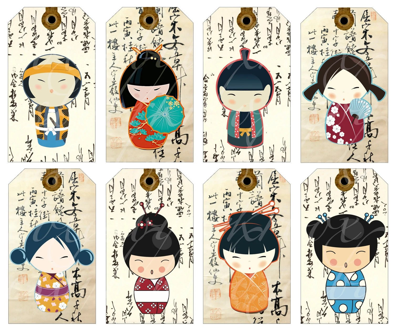 Instant Download Of 16 Kokeshi Doll Tags On A By Boxesbybrkr