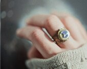 Adjustable vintage brass locket ring with blue iridescent crescent moon cabochon - the Moonlight Traveller - InmostLight