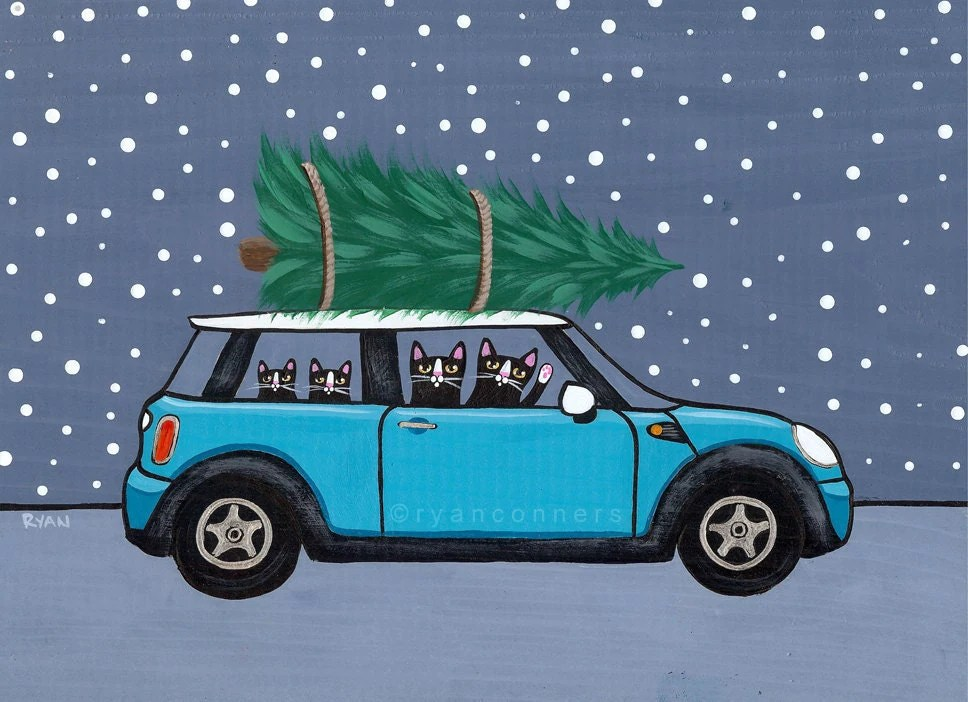 Teal Mini Cooper Christmas Cats Original Folk Art Painting