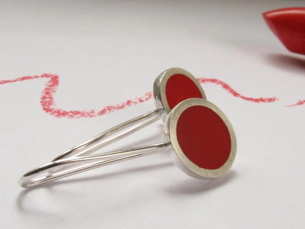 Little Round Drop Earrings - Lipstick Red Resin & Silver Earrings - Pop - UK - QuercusSilver
