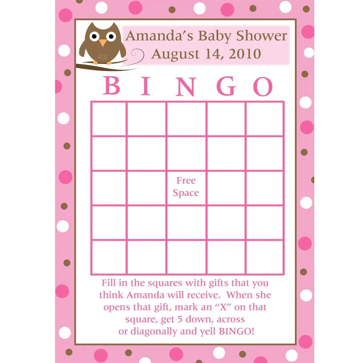 24 Personalized Baby Shower Bingo Cards Baby Owl Design