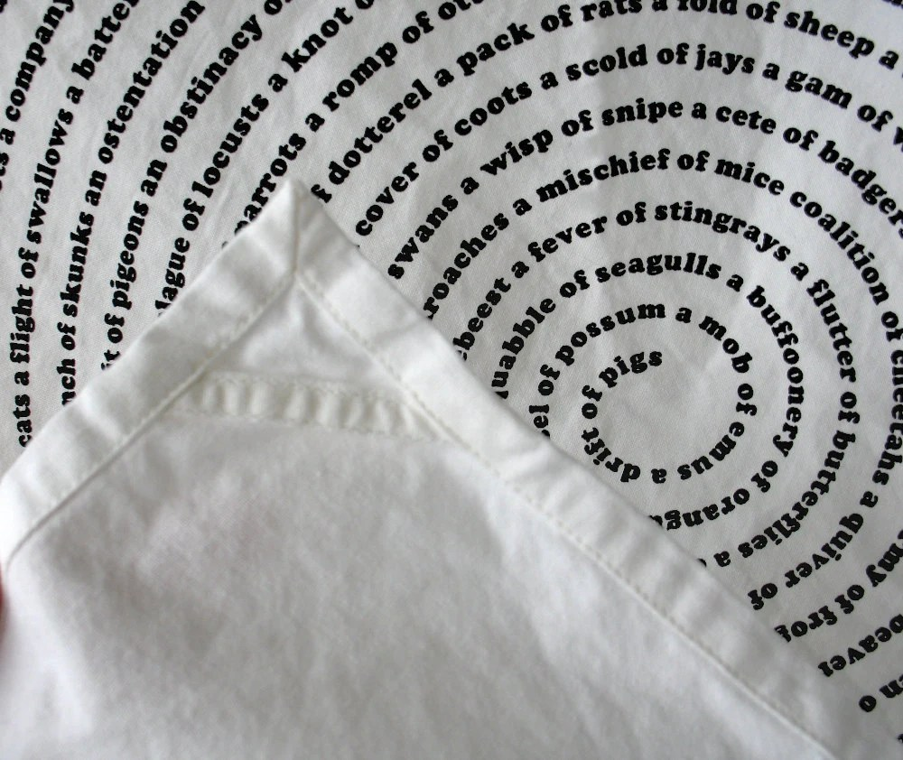 Black and White Tea Towel : Animal Group Nouns Design / organic / eco friendly hostess gift