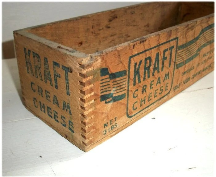 Items Similar To Vintage OLD WOODEN KRAFT CREAM CHEESE
