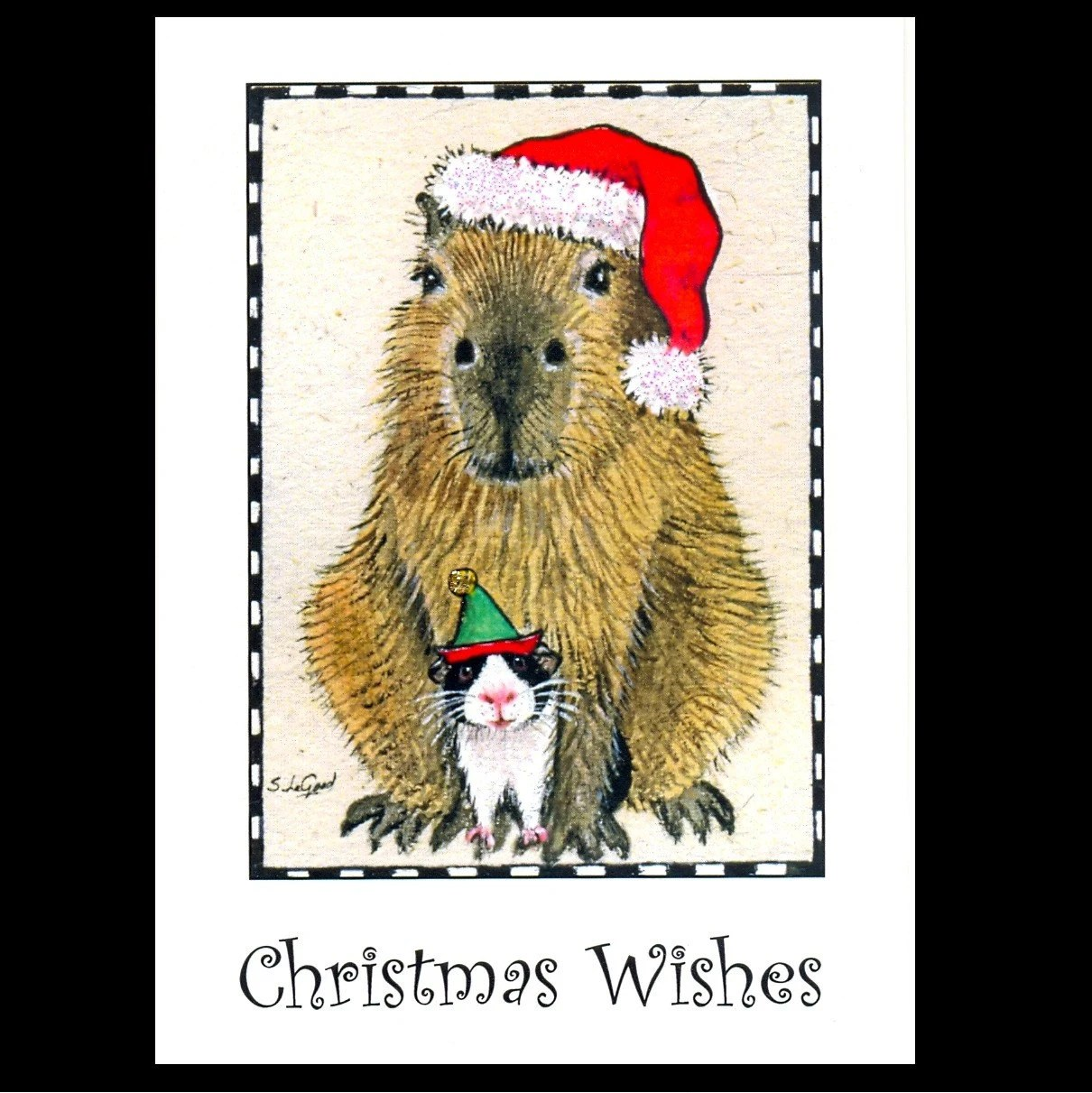 GUINEA PIG CAPYBARA CHRISTMAS CARDS BY SUZANNE LE GOOD