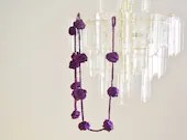 Purple crochet garland, wall hanging, pom-pom bunting, home decoration, violet flower balls - rosemauve