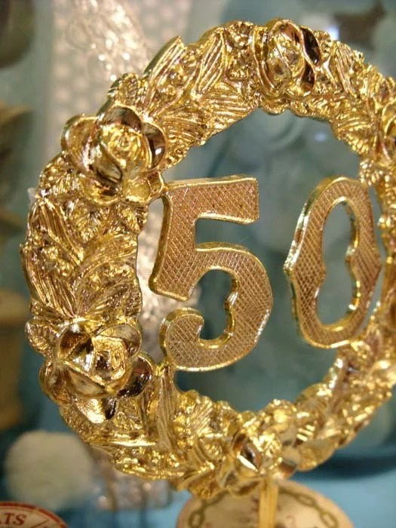 50th ANNIVERSARY Cake Topper Vintage CUPCAKE Wedding Birthday