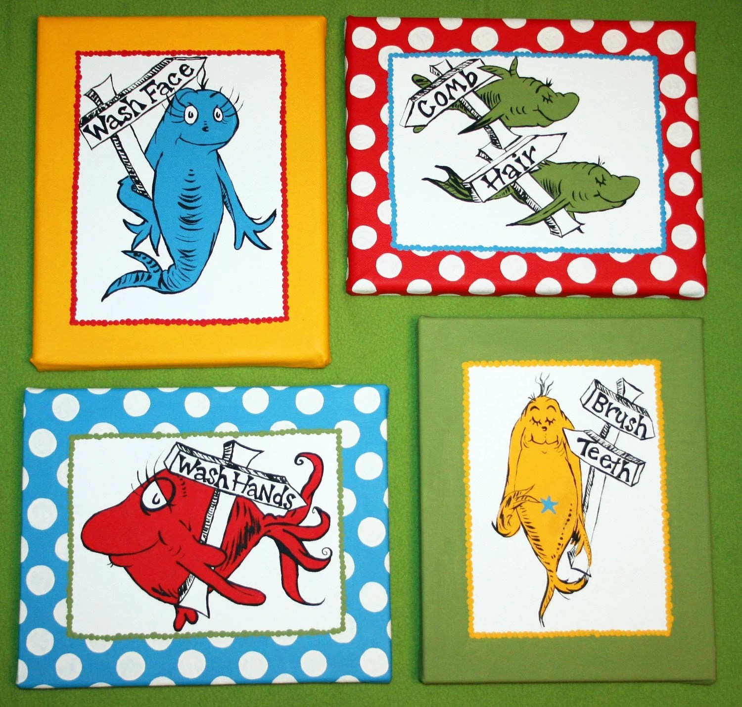 One Fish Two Fish Inspired Set Of 4 Dr Seuss Bathroom Set