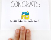 New House Card. New House Congratulations Card. Housewarming Card. Yellow, Turquoise. - JulieAnnArt