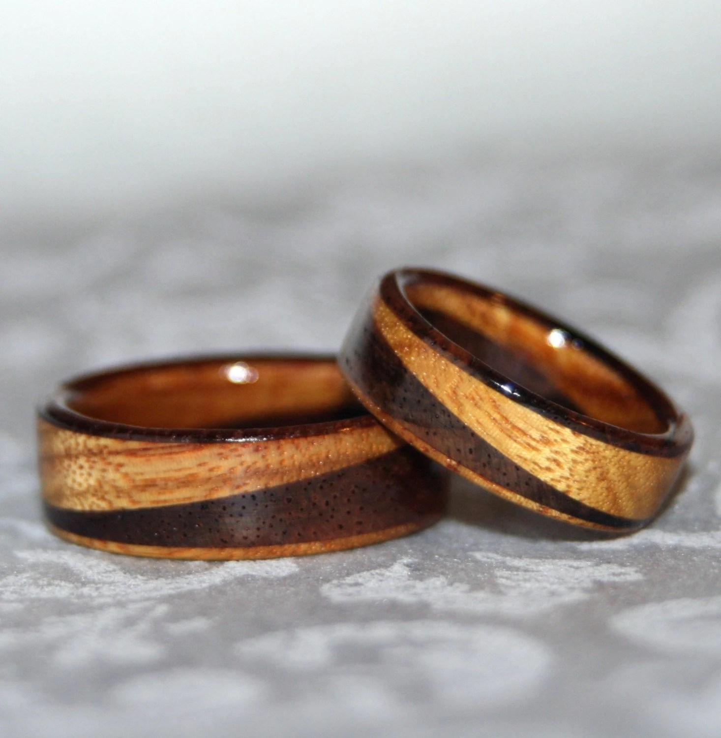 Wooden Rings Or Wedding Bands With Diagonal Design 2 Rings