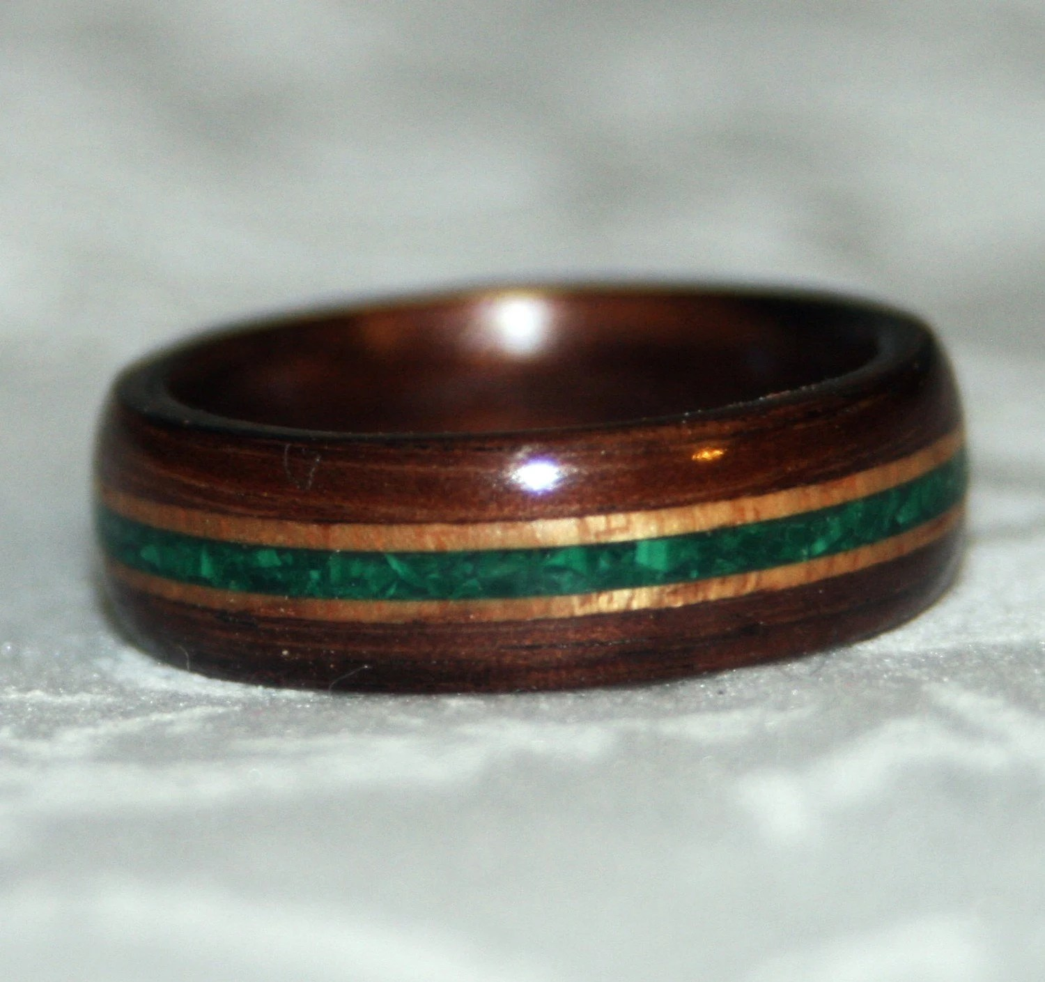 Wooden Ring Or Wedding Band With Stone Inlay Bent Wood