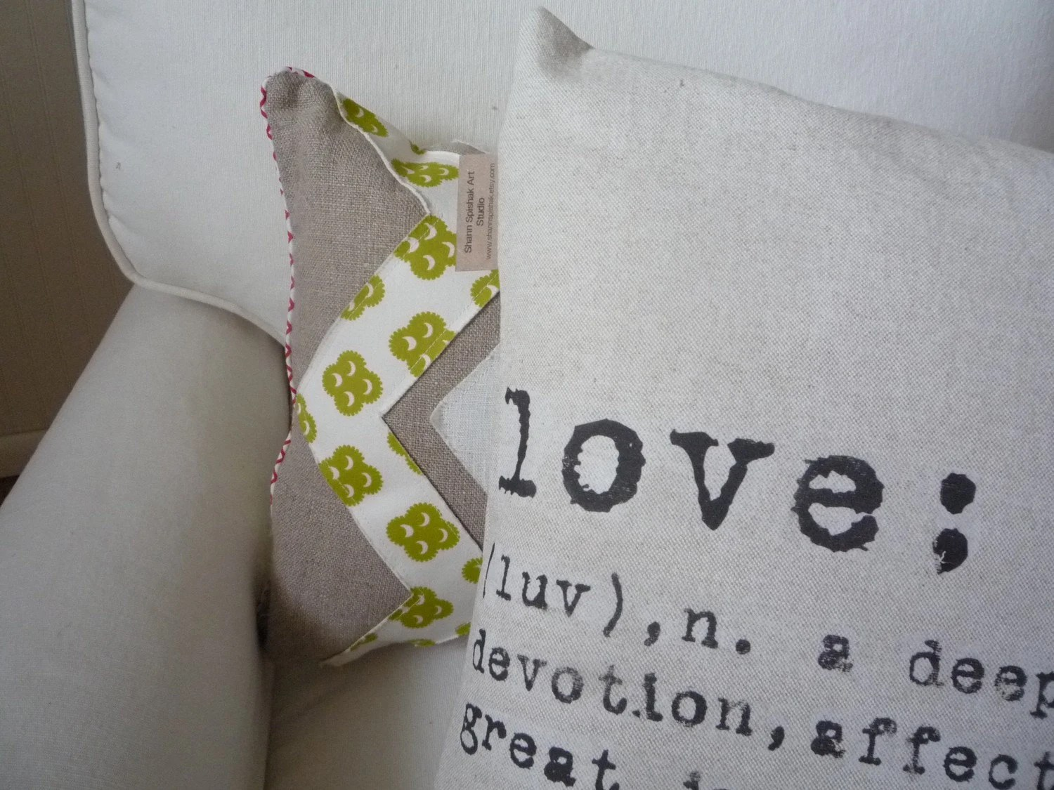 Decorative Pillow Cover Love Joy Hope Cotton Modern Accent- Made to Order-  Pillow Insert Not Included
