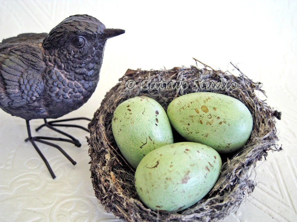 Small Painted Nest Eggs, Pale Green Nest Eggs, green nest eggs, speckled nest eggs, spotted nest eggs - CatnipStudioToo