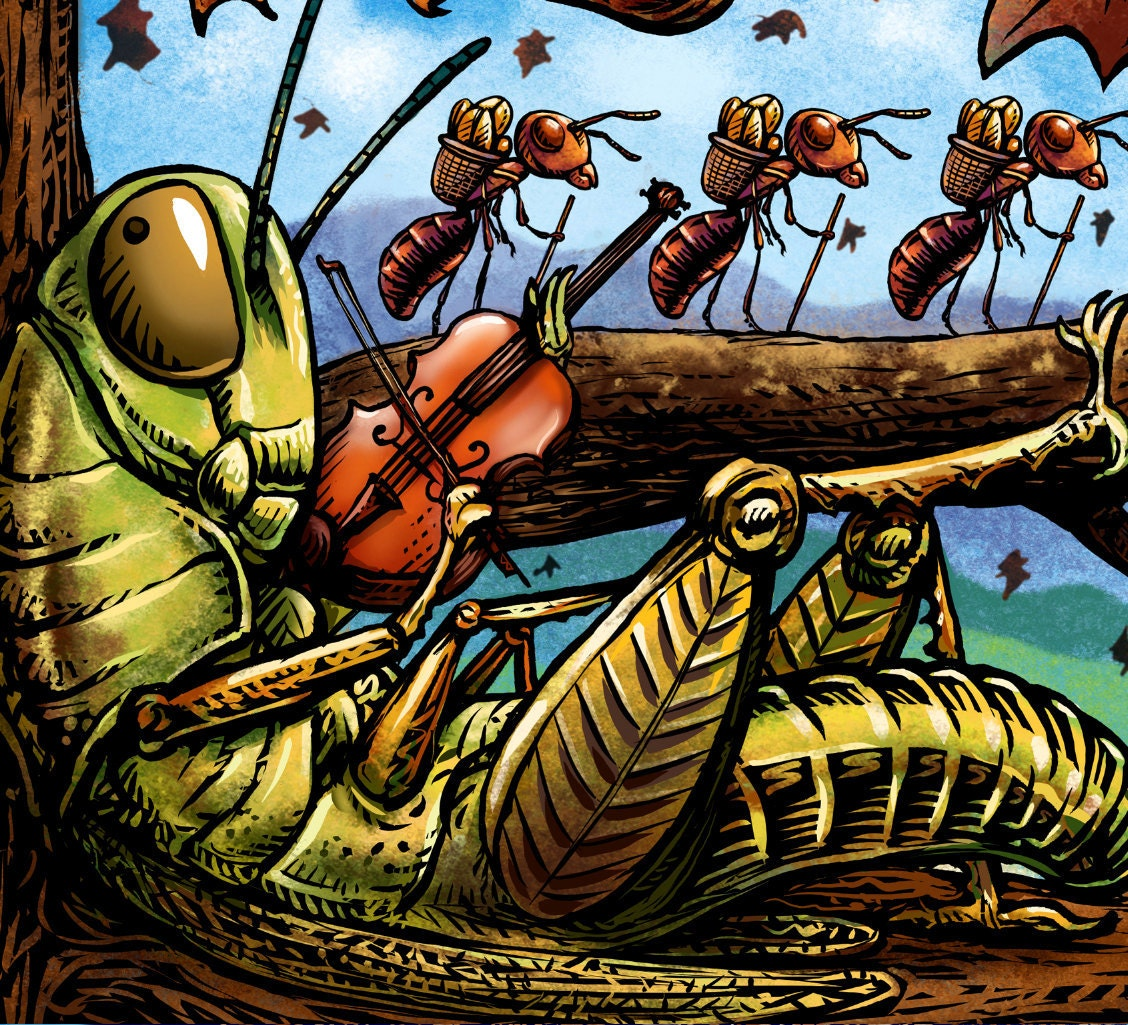 The Grasshopper And The Ants Signed Print By Chetart On Etsy