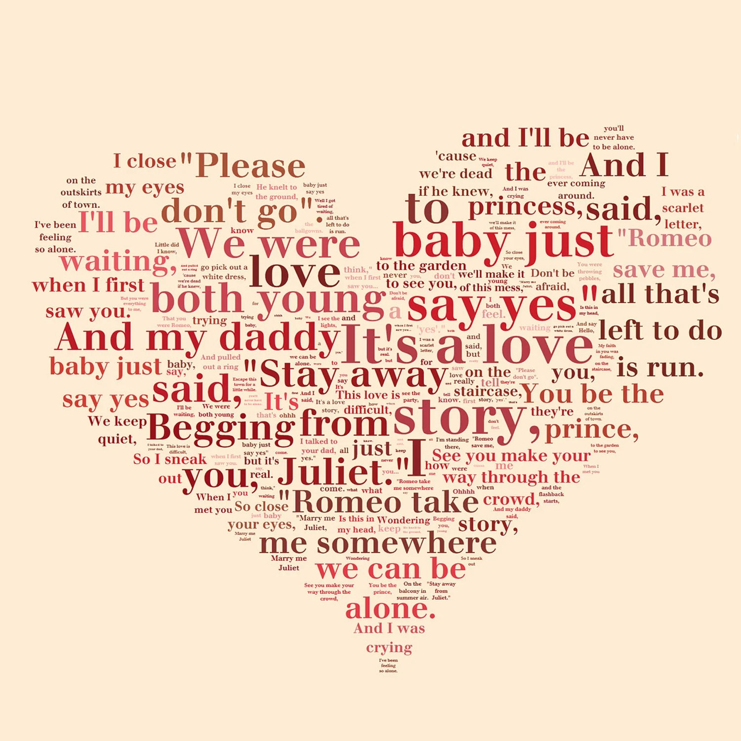 Heart Shaped Words Or Other Shapes Word Art Lyrics Collage On