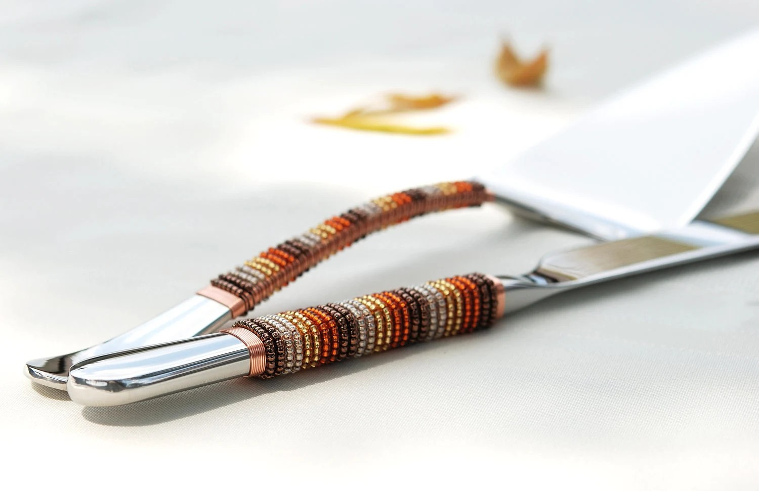 FALL Wedding Cake Server And Knife Set Beaded In Autumn Harvest Brown, Gold, Orange And Beige  THANKSGIVING - Beadz2Pleaz