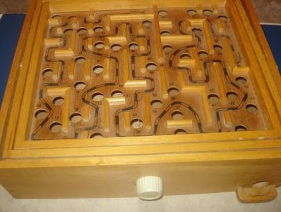 Vintage Wooden Labyrinth Marble Maze Game B
