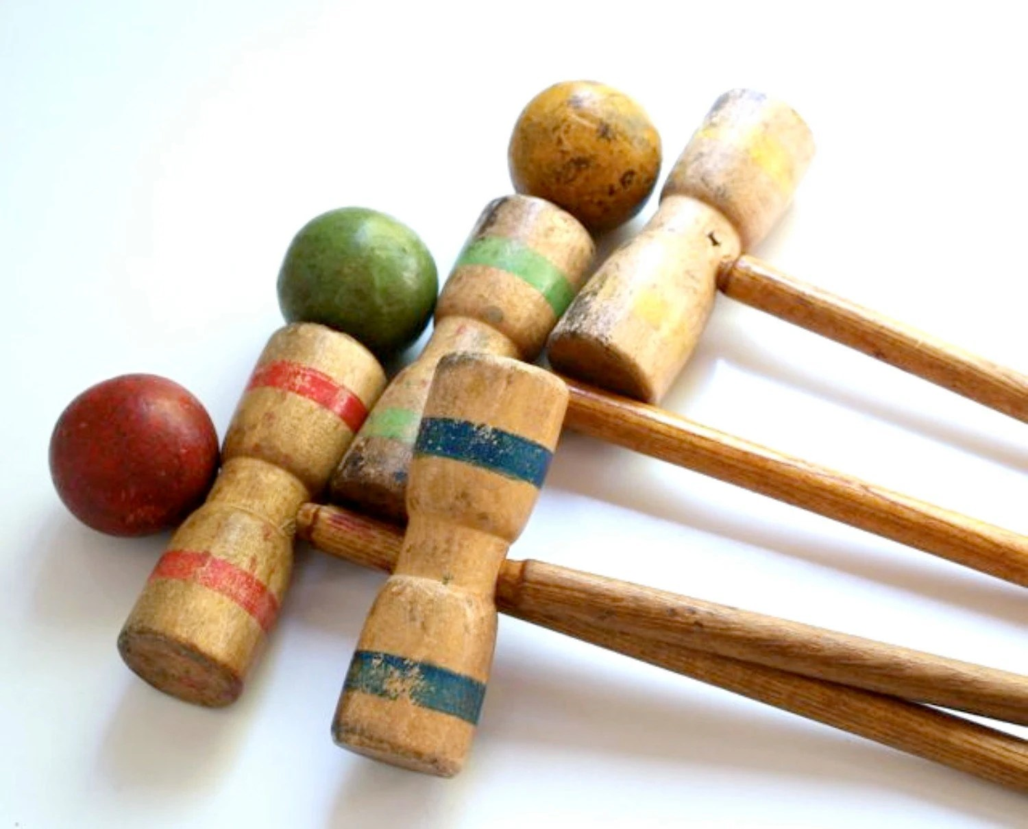 RESERVED FOR MAXI Antique Wood Croquet Set