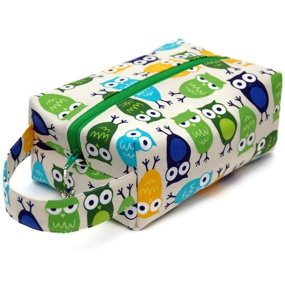 Knitting Project Bag Box Bag - Owls in Green and Blue
