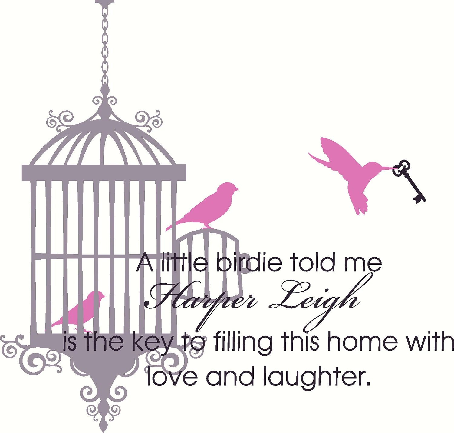 Wall Decal Quote Nursery Bird Cage With 3 Birds And Skeleton