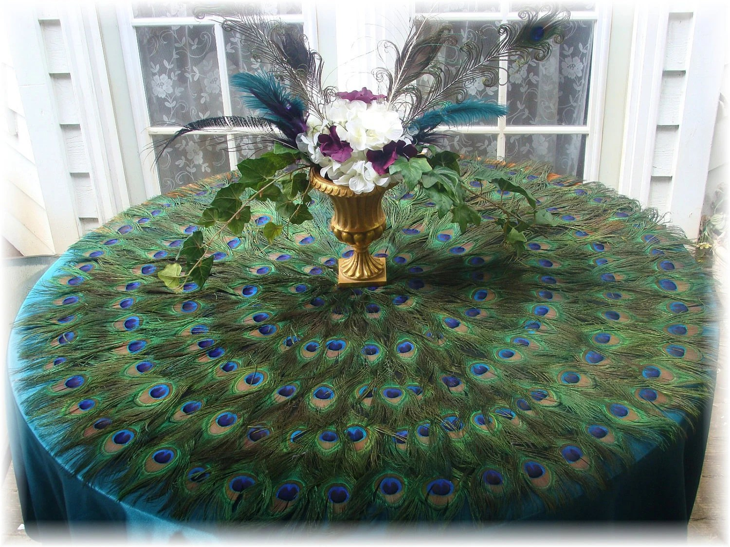 Items Similar To Peacock Feather Tablecloth Mat 42 On Etsy