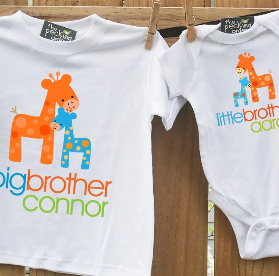 Big brother shirt, little brother shirt – matching big brother / little brother set – FUNKY GIRAFFE by zoeysattic