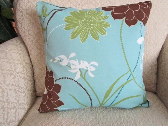 Decorative Throw Pillow Cover Spa Blue Brown 16 X 16 Large