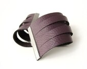 Purple Plum Leather Fashion Cuff Bracelet - with adjustable gunmetal chain - Eco friendly repurposed leather - AnnyMay