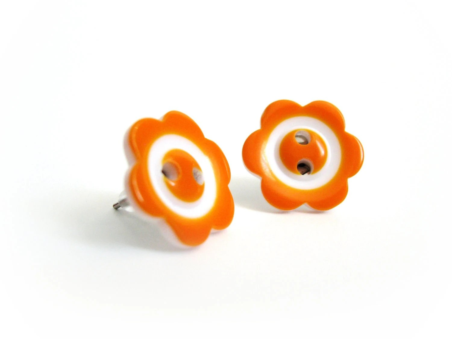 Fun Post Earrings - Tangerine Orange Flower Button Jewelry - On sale - AnnyMay
