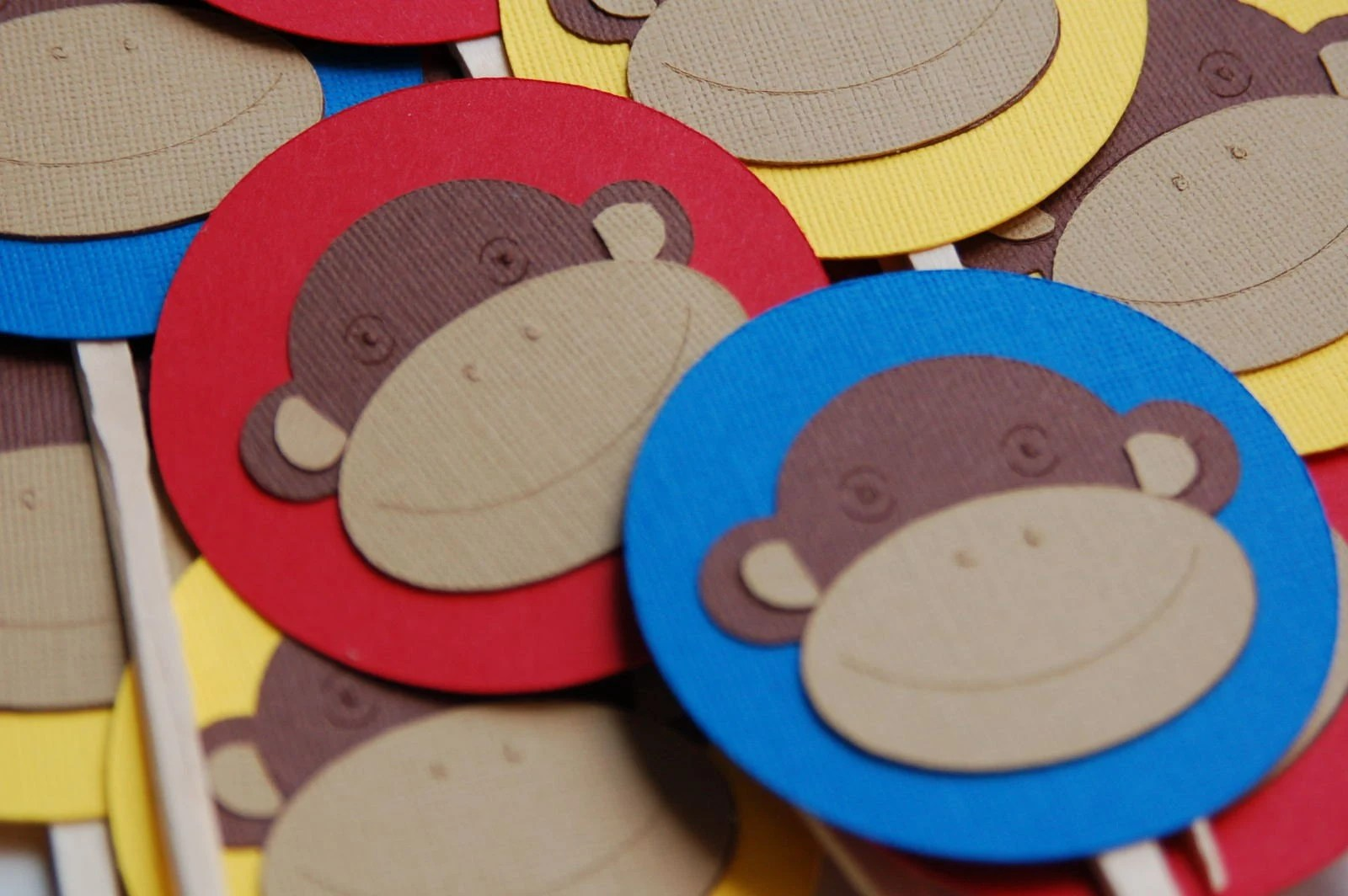 FUNKY MONKEY CUPCAKE TOPPERS BRIGHT COLORS