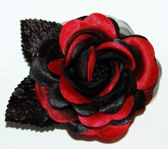 Hair Clip Red Black Rose Hair Accessory Halloween Gothic Sexy