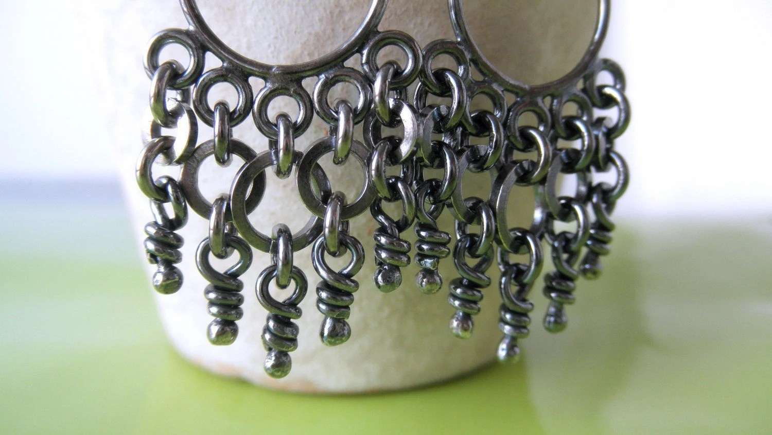 Sterling Silver Earrings. Dangling Knots & Rings. Oxidized Chandelier. -Andre- - aroluna