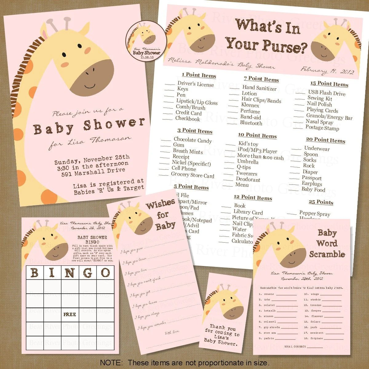 Giraffe Baby Shower Printable Party Package 7 By Photogreetings