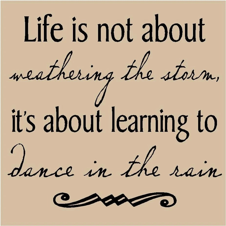 T72- Life is not about weathering the storm, it's about learning to dance in the rain 12x12  vinyl wall decals lettering words sayings quote