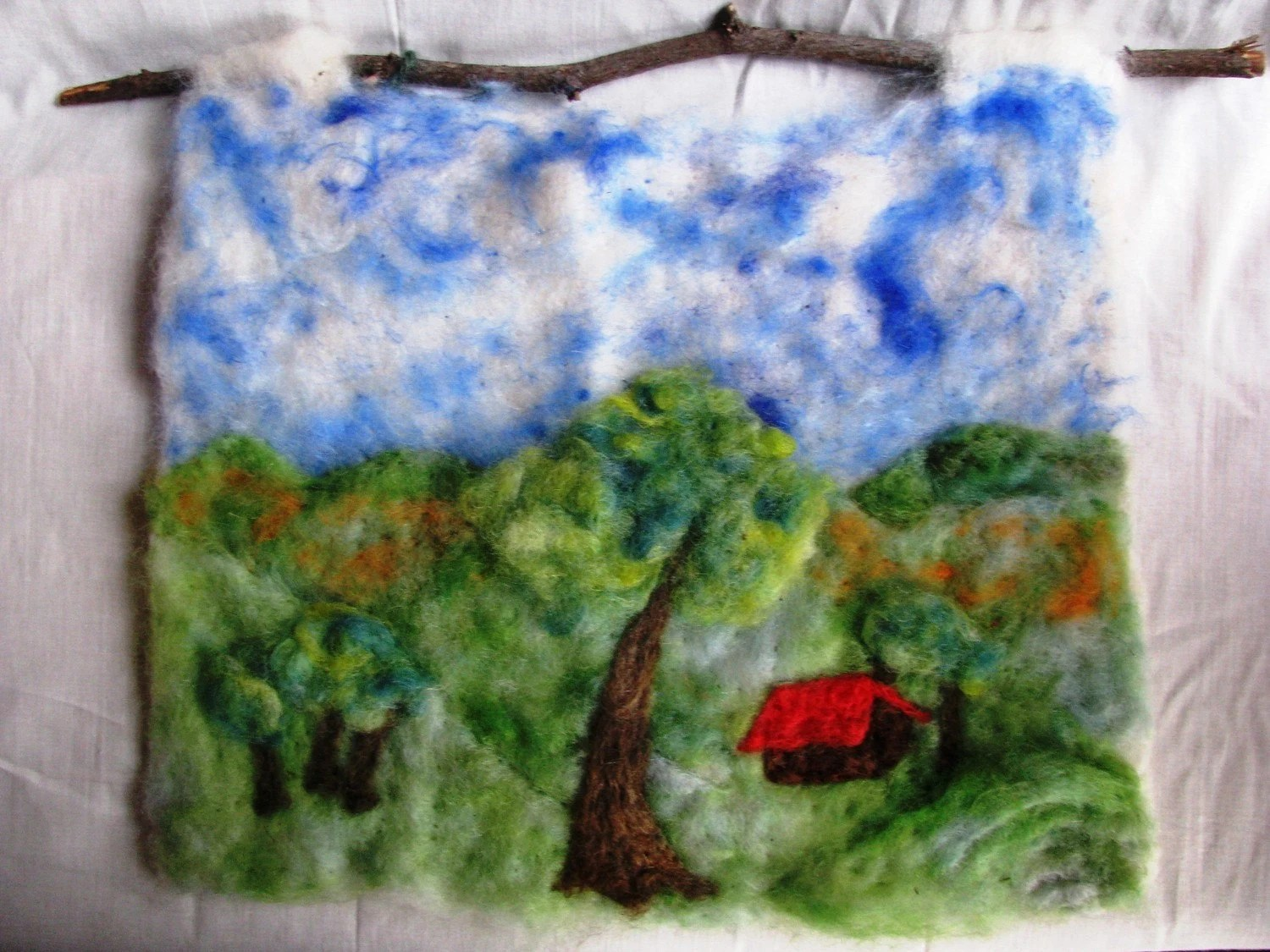 Needle Felted Landscape Scene Wall Hanging