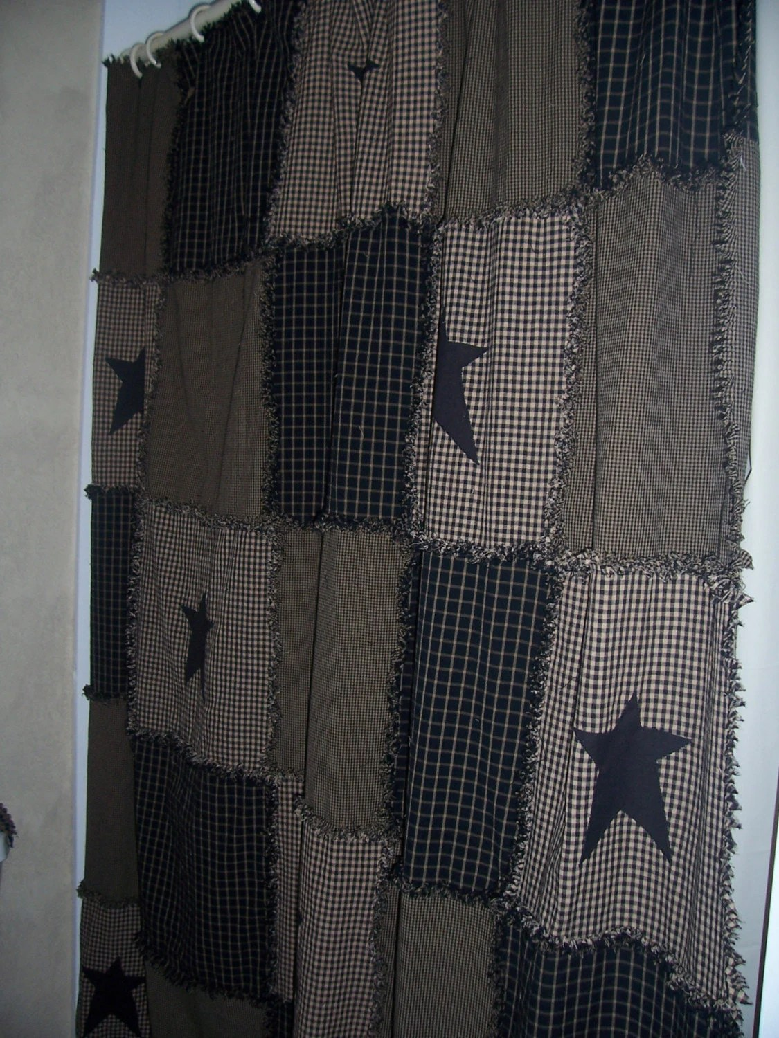 Primitive Raggy Shower Curtain Valance And Tank Cover With