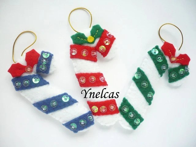 Candy Cane, Felt  Christmas Ornaments - Set of 3