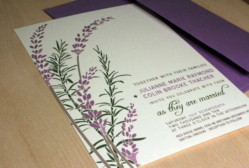 SAMPLE Lavender and Rosemary Wedding Invitation