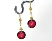 Ruby Red Button Earrings - Cranberry Vintage Czech Glass Buttons in Gold Vermeil - Quilters Knitters Sewing Jewelry - Valentine's Day Gift - LiliDMagpieCreations